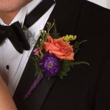 Coal and Purple Boutonniere