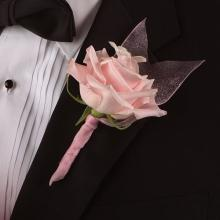 Rose with Tule Boutonniere