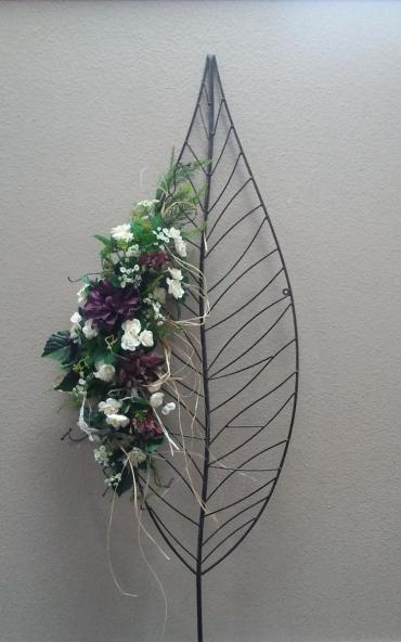 Metal Leaf Wall Decor with Silks